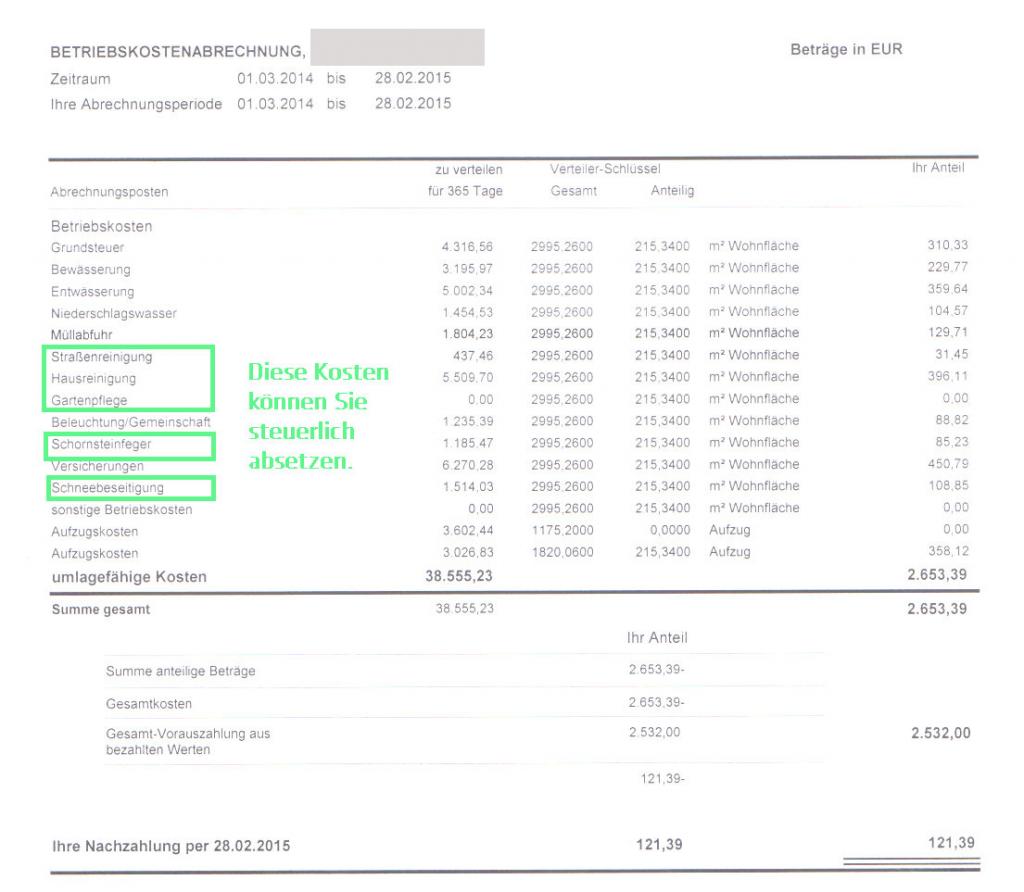 Haushaltsnahe Dienstleistungen: Gut zum Steuern sparen! - Nebenkostenabrechnung