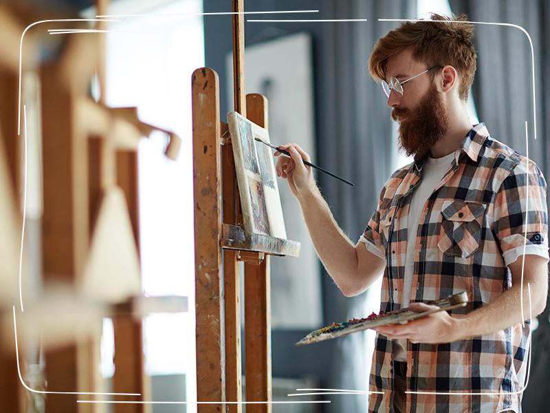 Künstler malt ein Bild