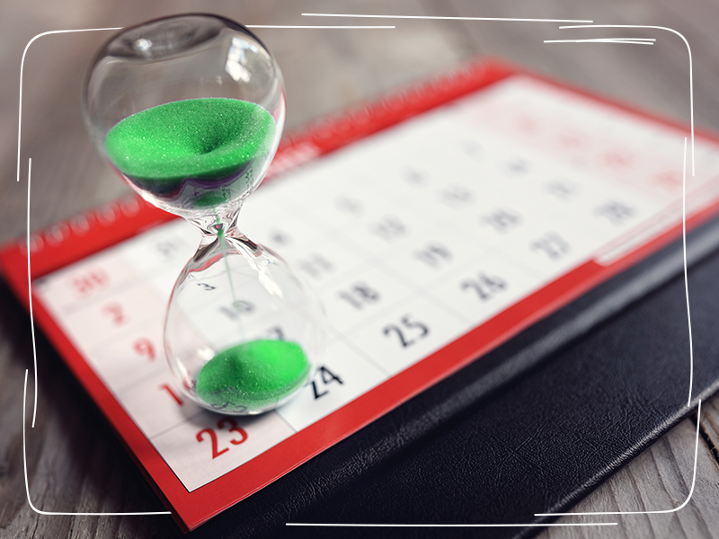 Sanduhr auf Kalender
