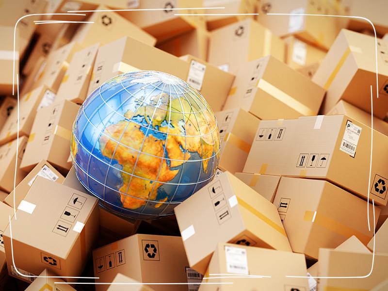 Lieferschwelle Globus auf Paketen